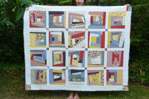 improv log cabin quilt